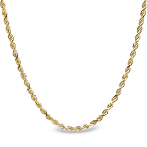 Diamond Cut Rope 14k Gold Necklace - 30 in.